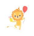 cute lion wearing party hat with red balloon and vector image vector image