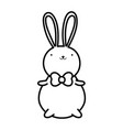 cute rabbit with bow tie cartoon thick line vector image