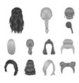 female hairstyle monochrome icons in set vector image vector image