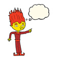 fire spirit cartoon with thought bubble vector image vector image