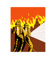 fireman fire fighter fighting fire vector image vector image