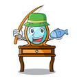 fishing dressing table mascot cartoon vector image