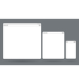 Flat blank browser windows for different devices vector image vector image