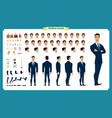 front side back view animated character vector image