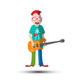 funky guitar player musician man isolated on vector image vector image