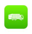 garbage truck icon digital green vector image vector image