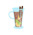 glass mug of delicious mulled wine with cinnamon vector image vector image