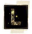 golden ornamental alphabet letter l font vector image