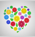 heart of paper flowers vector image vector image