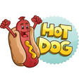 hot dog cartoon character with letters vector image vector image