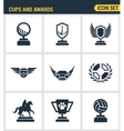 Icons set premium quality of cups and awards prize vector image