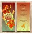 Iris flower wedding menu card Printable vector image vector image
