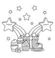 kawaii stars and happy birthday design vector image vector image