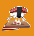 kawaii sushi seafood wooden plate and chopsticks vector image vector image