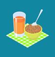 lentil porridge and fruit juice breakfast healthy vector image vector image