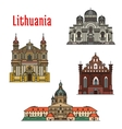 Lithuania famous architecture icons vector image vector image