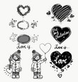 love cute small girl and heart winter hand vector image vector image
