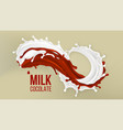 milk chocolate splash splashing ingredient vector image