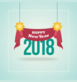 new year blue poster with red hanging ribbon vector image