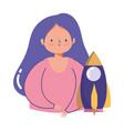 people creativity technology girl rocket startup vector image