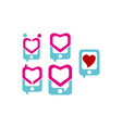 phone love logo set vector image vector image