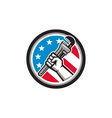 Plumber Hand Pipe Wrench USA Flag Side Angled vector image vector image