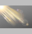 realistic light effect with beam and flare vector image