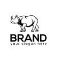 rhino monochrome logo flat design vector image vector image