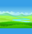 river on a hilly meadow on vector image vector image