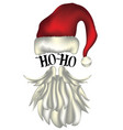 santa hat and beard card vector image