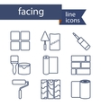 set line icons for diy finishing materials vector image