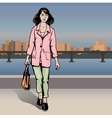 Sexy fashion girl in sketch style on a city vector image vector image