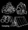 Sketch camping set in vintage style vector image vector image