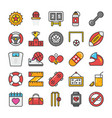 sports and games flat icons set 6 vector image