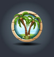 two cartoon palms wooden rounded badge icon vector image