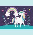 unicorn magic fantasy cartoon rainbow clouds vector image vector image