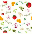 vegan raw food vegetable icon seamless pattern vector image vector image