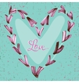 Watercolor hand painted hearts with text Love on vector image