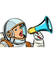 woman astronaut with megaphone isolate on white vector image vector image