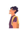 young brunette man with backpack side view vector image vector image