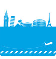travel background with famous landmarks vector image
