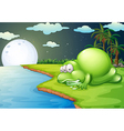 A monster sleeping near the river vector image vector image