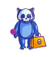baby bear in halloween costume vector image