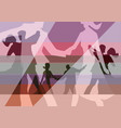 balroom dancers couples collage background vector image vector image