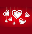 beautiful white hearts on red paper - love concept vector image vector image