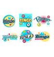 bingo game logo set six with colorful nambered vector image vector image