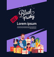 black friday sale poster with happy family over vector image