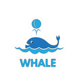 cartoon whale flashcard for children vector image