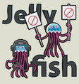 character jellyfish tank and strikers sticker vector image vector image