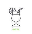 cocktail with orange slice and straw outline icon vector image vector image